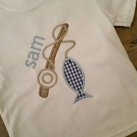 Boys appliqué fish shirt, gingham fish, spring summer boy shirt, fishing pole, name fish, fishing trip, camping boys trip, boy scout shirt