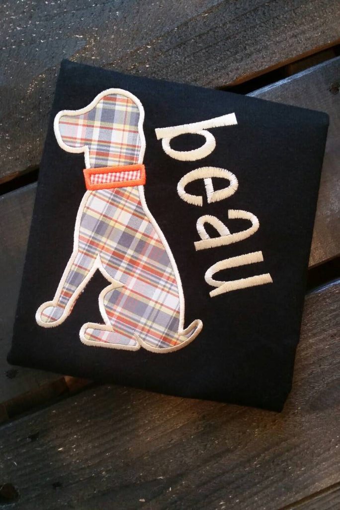 Boys applique' shirt with gingham dog available in white or black shirt