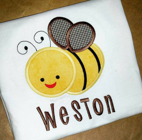 Boys bee shirt - spring summer shirt - boys summer appliqué - honey bee appliqué - boys monogram shirt - boys tee - free monogram - summer