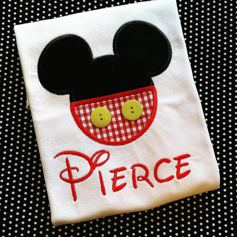 Boys Mouse tee , mouse shirt for vacation  , Mickey shirt with buttons , mouse appliqué shirt , cheap appliqué Mickey shirt