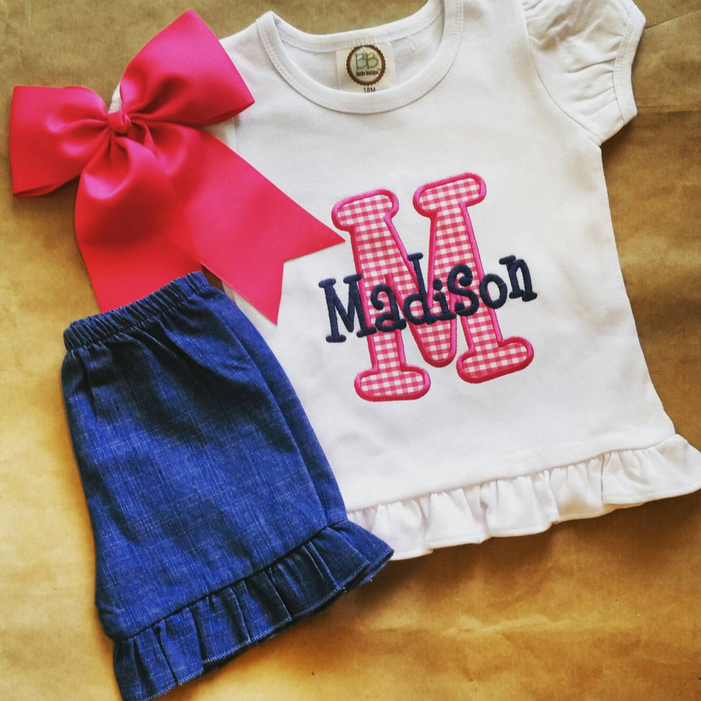 Girls monogram initial outfit , monogram outfit , girls back to school , gingham appliqué set , school outfit matching bow , birthday shirt