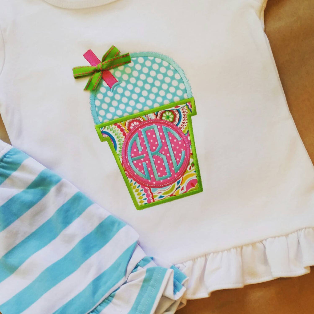 Girls summer outfit  , monogrammed summer clothes , beach vacation outfit , cute school outfit , back to school , sno cone appliqué , ruffle