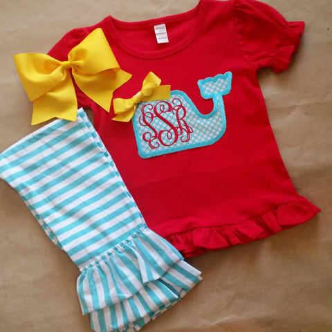 Back to school outfit , whale outfit , applique monogram whale , ruffle shirt stripe pants , beach outfit , affordable school set , girls