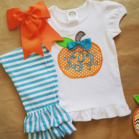 Girls fall outfit , applique pumpkin , monogram fall girls outfit , girls boutique clothes , halloween thanksgiving outfit , halloween