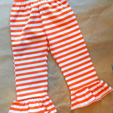Stripe ruffle pants , fall pants , girls boutique pants , orange stripe pants , Thanksgiving Halloween pants girls , fall clothes girls
