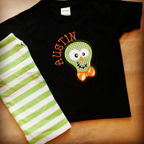 Boys Halloween outfit , skeleton outfit , Halloween clothes , Halloween appliqué , boys fall festival clothes , orange black and green