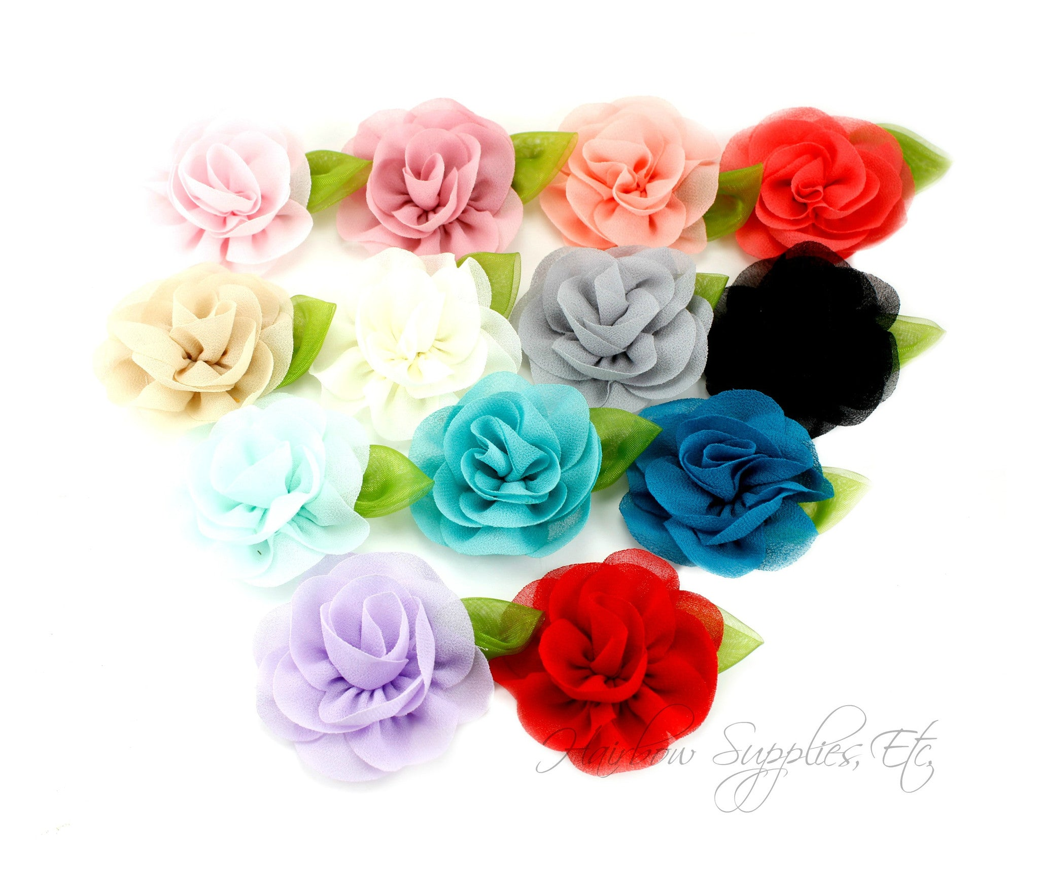 Candlelight rose chiffon flower - 2 inch