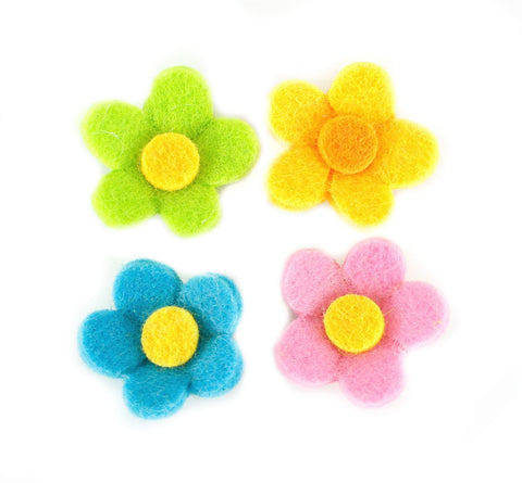 Felt Flower Appliques - Set of 4
