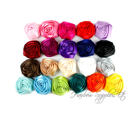 Folded satin rolled flowers 2 inch
