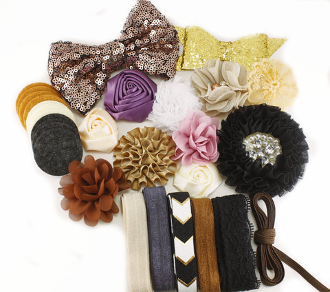 30% OFF Baby Shower Headband Kit - Gold, Beige, Black, Mauve - Honey