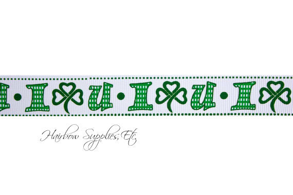 I love you shamrock gingham 7/8 inch st. patrick's day printed grosgrain ribbon