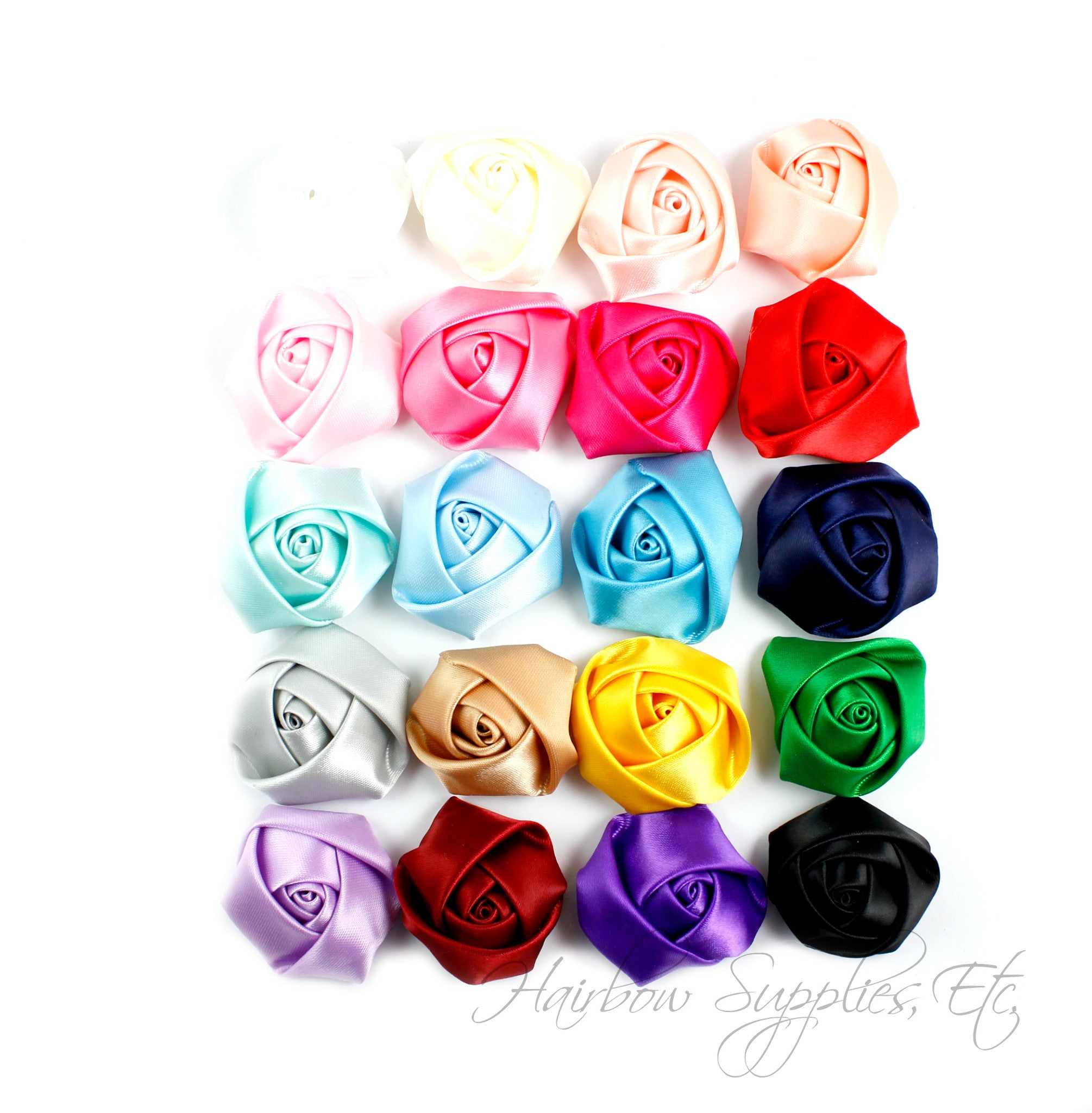 Mini satin rolled rosettes 1-1/2 inches