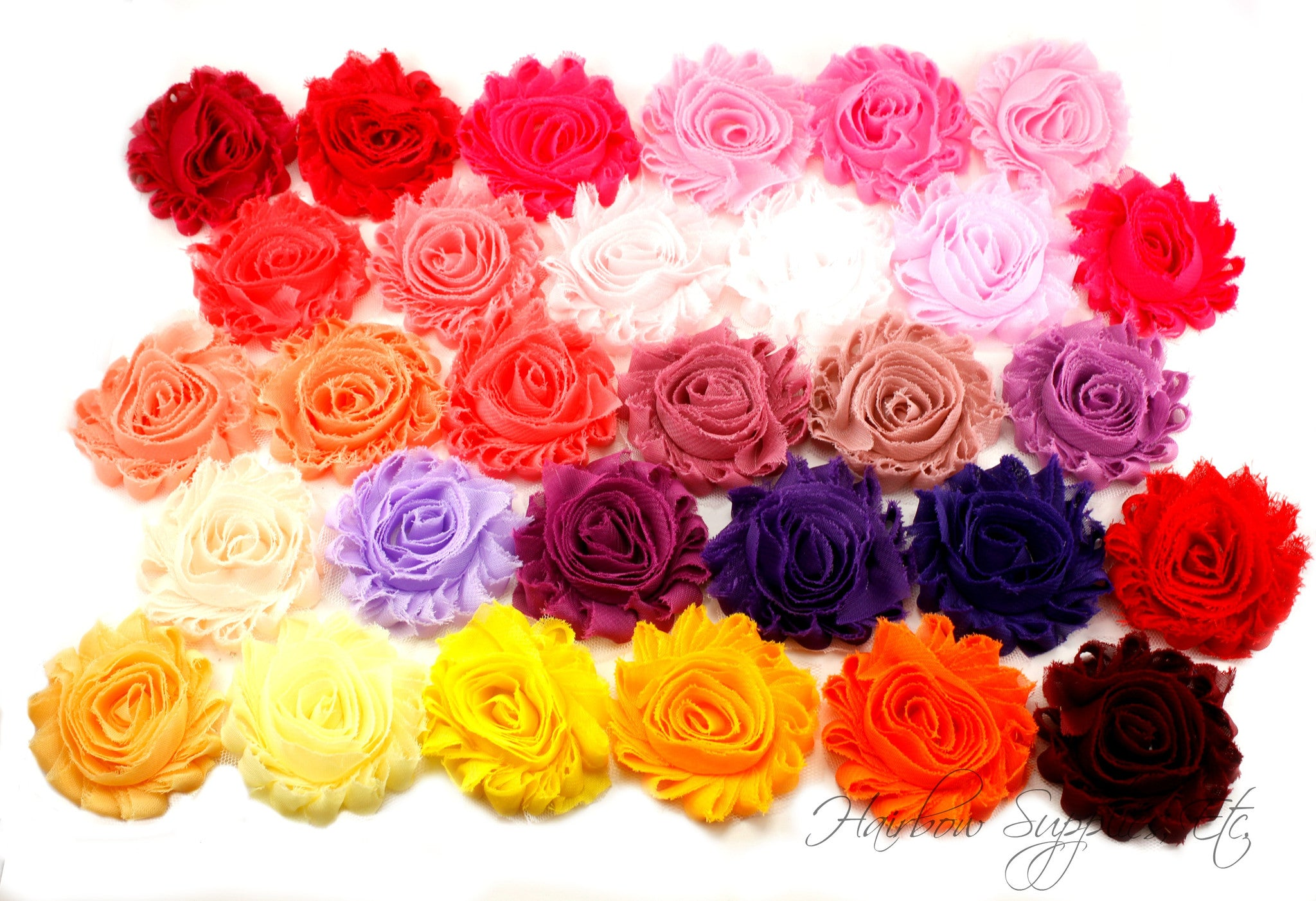 Shabby flowers 2.5 inches - solid (pinks, purples and yellows)
