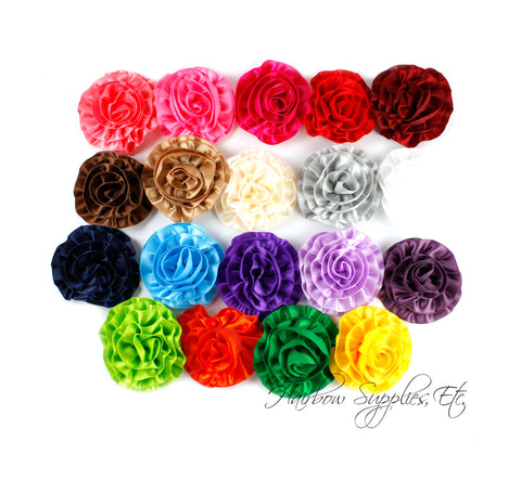 Rose ruffle flowers - 2 inch