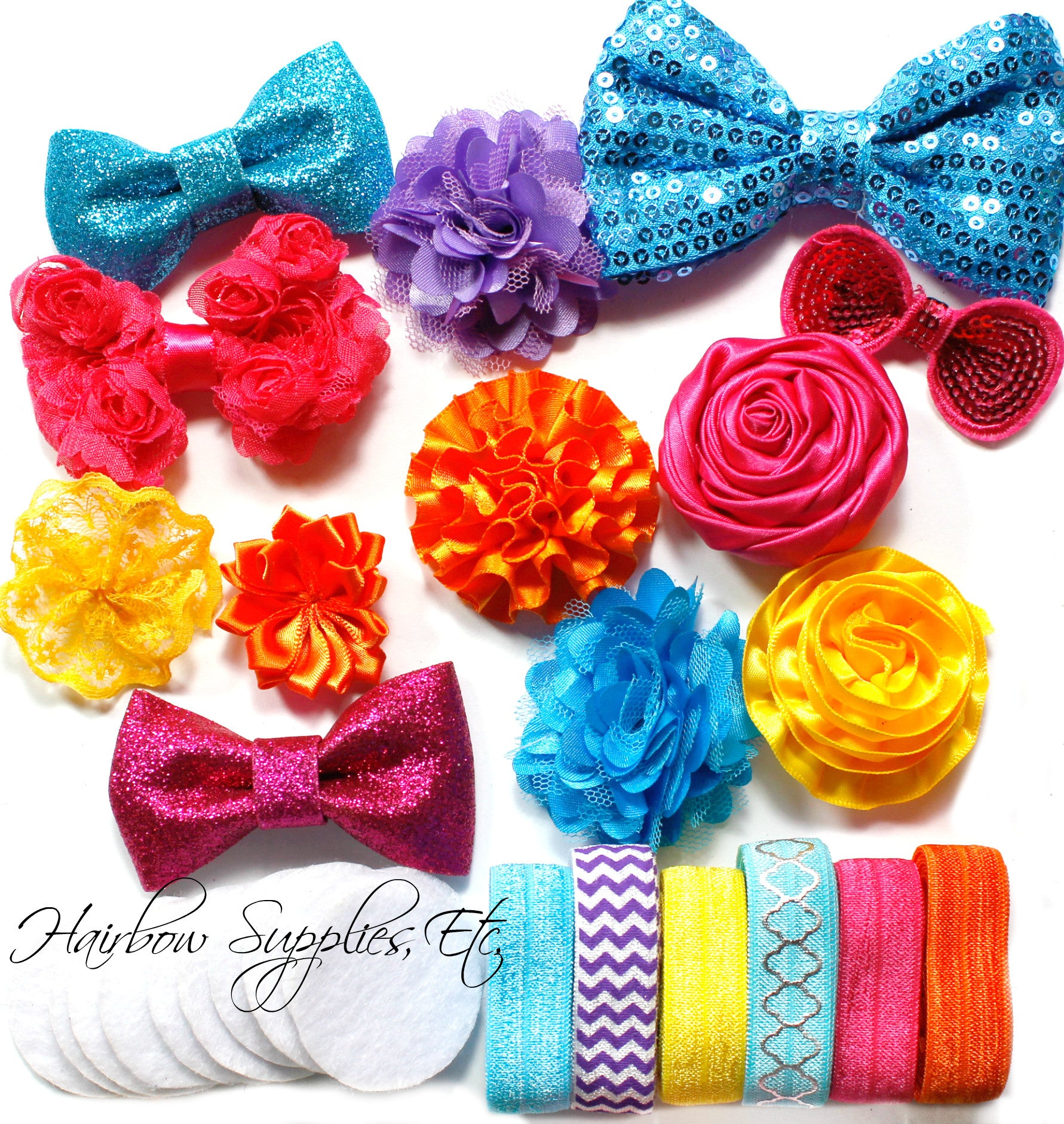 Headband kit - hot pink, turquoise, purple, orange, yellow - wonderful