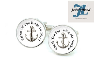 My Anchor Father of the Bride Groom Cufflinks, Photo Cuff links gift for men - Jewelrylized.com
