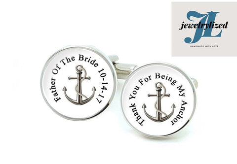 My Anchor Father of the Bride Groom Cufflinks, Photo Cuff links gift for men - Jewelrylized
