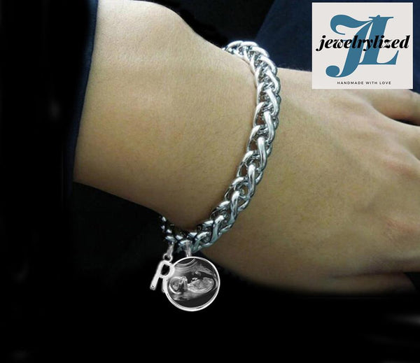 Silver Initial Sonogram Charm Bracelet, Pregnancy Gift, birth announcement - Jewelrylized.com
