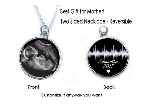 Heartbeat & Sonogram Necklace, 2 Sided Baby Pendant, Pregnancy Gift, birth announcement, Gift for New Mother, Ultrasound Necklace