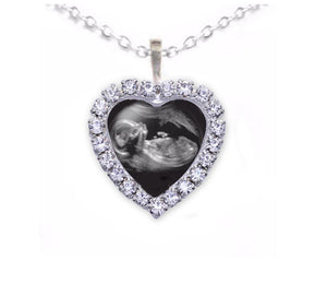 Heart Rhinestone Silver Sonogram Necklace, Pregnancy Gift, birth announcement, Ultrasound Necklace - Jewelrylized.com