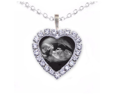 Heart Rhinestone Silver Sonogram Necklace, Pregnancy Gift, birth announcement, Ultrasound Necklace, Jewelrylized
