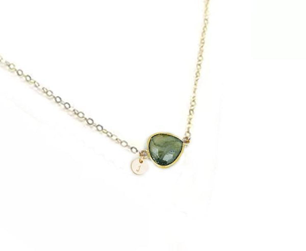 Initial & Labradorite 14K Gold Filled Necklace - Jewelrylized.com