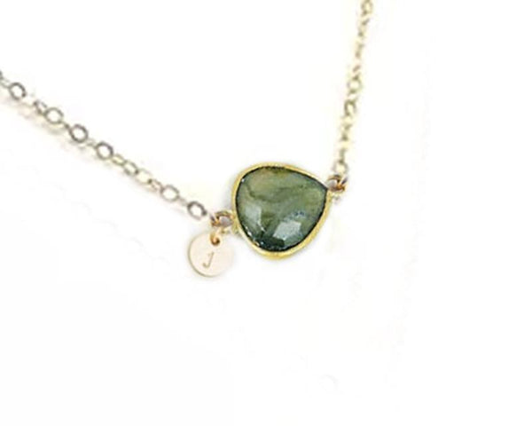 Initial & Labradorite 14K Gold Filled Necklace - Jewelrylized