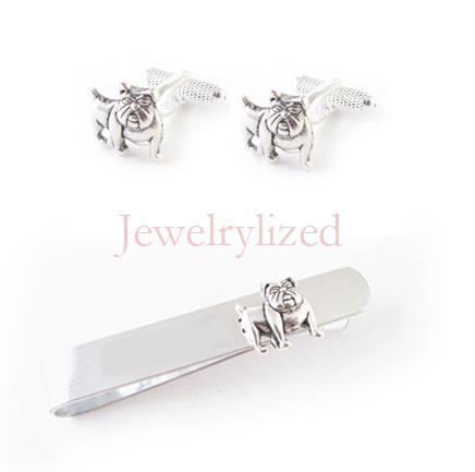 Silver Bulldog Cufflinks or Personalized Initials Bulldog Tie Clip - Jewelrylized