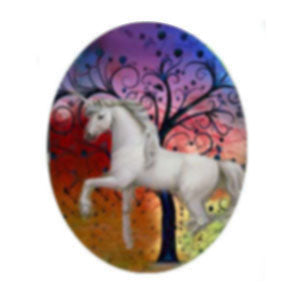 Tree Unicorns Handmade Porcelain Cabochon