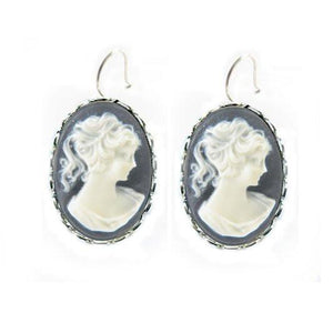 Vintage Black Cameo Earrings - Jewelrylized