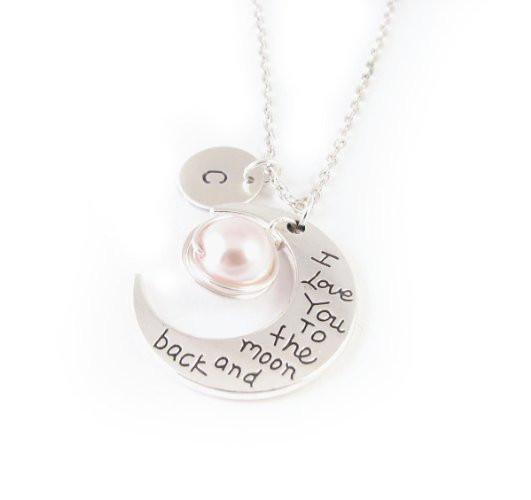 Pearl & Initial Silver Moon Hand Stamped Handmade Necklace - Jewelrylized.com