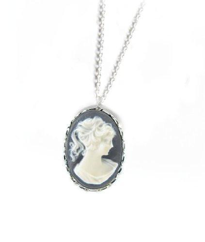 Black Vintage Cameo Necklace - Jewelrylized