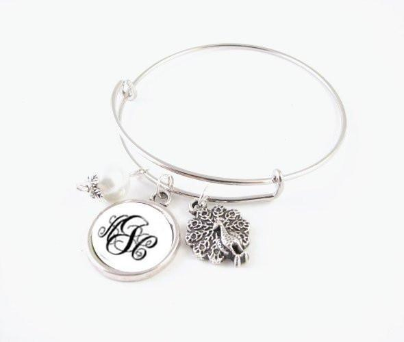 peacock monogram initials expandable charm bracelet  wire bangle