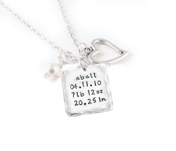 Baby Weight Personalized Hammered Square Necklace - Jewelrylized.com