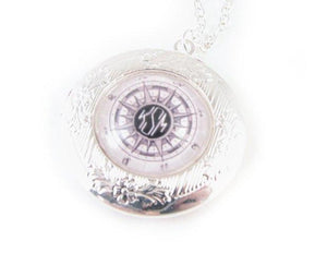 Compass Silver Photo Locket Monogram Necklace - Jewelrylized.com