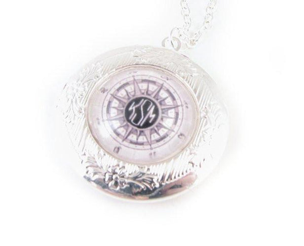 Compass Silver Photo Locket Monogram Necklace - Jewelrylized