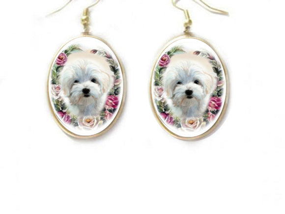 Maltese dog porcelain cameo Earrings Jewelry
