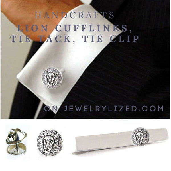 Silver Lion Greek key Tie Tack, Tie Pin, Lapel Pin - Jewelrylized.com