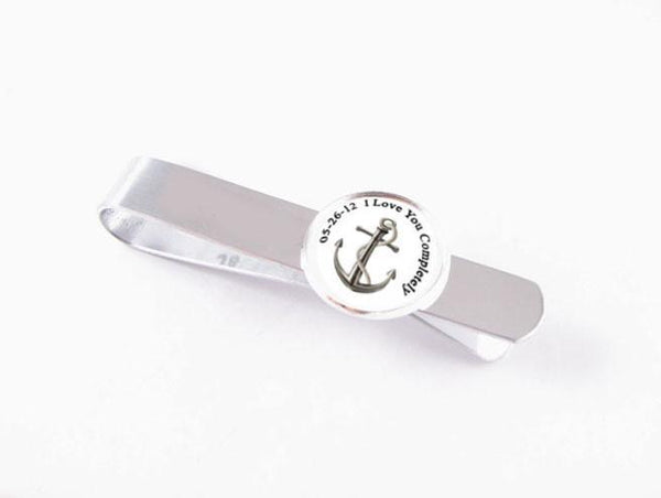 Personalized Tie Bar, Anchor Tie Bar, Photo Tie Clip - Jewelrylized