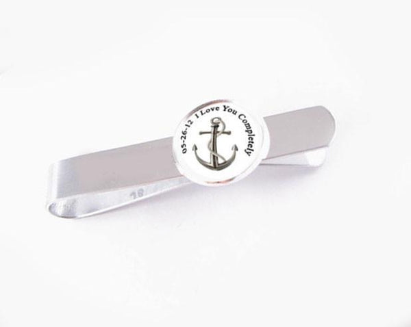Personalized Tie Bar, Anchor Tie Bar, Photo Tie Clip - Jewelrylized.com