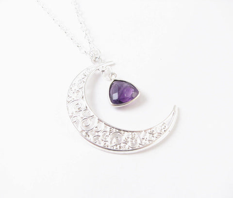 Trillion Amethyst Silver Moon Necklace, Jewelrylized