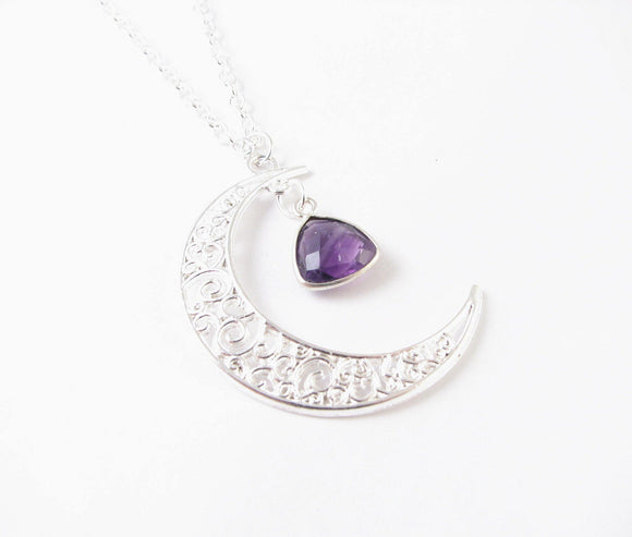 Trillion Amethyst Silver Moon Necklace - Jewelrylized.com