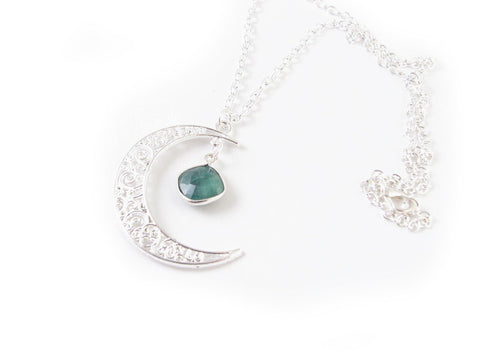 Emerald Silver Filigree Moon Necklace - Jewelrylized.com