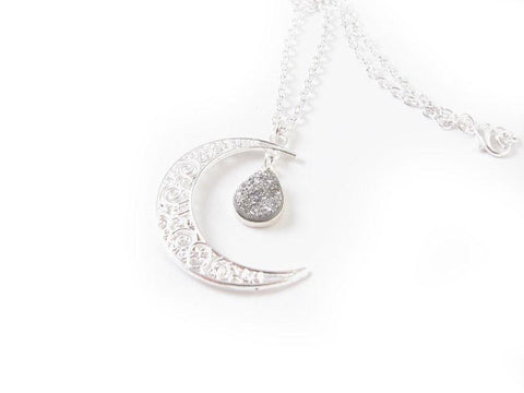 Silver Druzy Moon Necklace, Jewelrylized