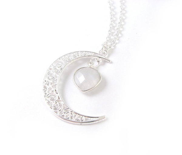 Moonstone Silver Moon Necklace - Jewelrylized.com
