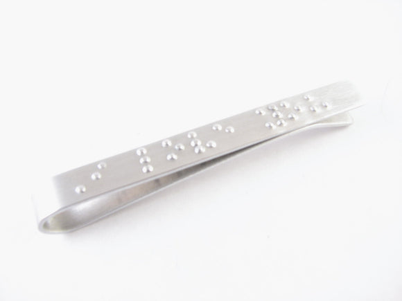 Braille I love you Hand Stamped Tie Clip - Jewelrylized.com