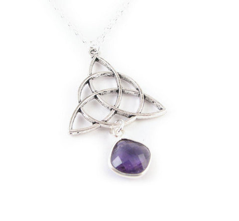 Celtic Genuine Amethyst Necklace - Jewelrylized.com