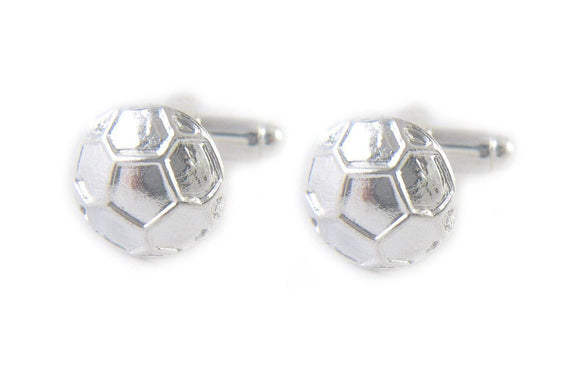 Silver Soccer Ball Cufflinks, Sports Cuff Links - Jewelrylized.com