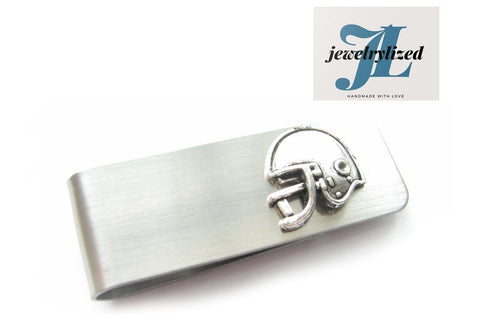 Football Sports Silver Money Clip - Jewelrylized.com