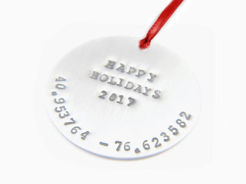 Personalize Ornament Longitude Latitude Christmas Ornament, Hand Stamped GPS Tree Ornament, Keepsake Holidays gifts First Christmas